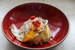 Asian fried egg with chilli and rice Stock Photography