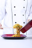Asian fried noodle served Stock Photos