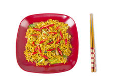 Asian fried noodle on white Royalty Free Stock Images
