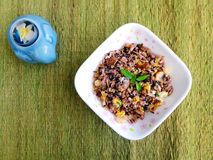 Asian fried rice, mushrooms, shrimps, thai basil stock photo