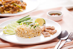 Asian fried rice. With pork and egg Stock Photo