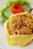 Fried Rice. With Chicken and Shrimp on a plate Royalty Free Stock Images