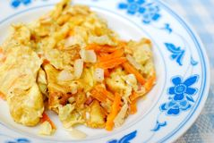 Asian fried or scrambled egg Royalty Free Stock Photography