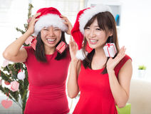 Asian friend having fun christmas Stock Images