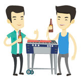 Asian friends having fun at barbecue party. Royalty Free Stock Images