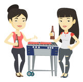 Asian friends having fun at barbecue party. Stock Images