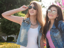 Asian Friends Posing in Natural Setting Royalty Free Stock Images