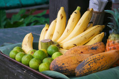 Asian fruit. Various fresh fruit at asian traditional market Stock Image