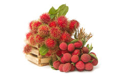 Asian fruit , Fresh rambutan and lychee Royalty Free Stock Images