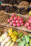 Asian fruit market. Delicious looking asian fruits for sale on market Royalty Free Stock Image