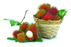 Asian fruit rambutan. On the plain background Royalty Free Stock Photos