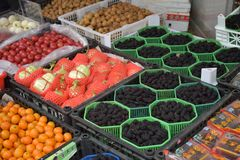 An Asian Fruit Stand. A fruit stand in a small city near Shanghai Royalty Free Stock Photos