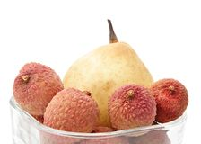 Asian fruits. Asian pear with some fresh lychees Royalty Free Stock Photography