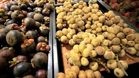Asian fruits mangosteen, lychee, tamarind,. Asian fruit  mangosteen, lychee, tamarind, rambutan on a market stall. 1920x1080 stock footage