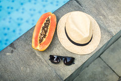 Asian fruits and women`s accessories Royalty Free Stock Images