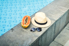 Asian fruits and women`s accessories Stock Image