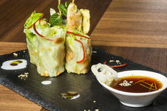 Asian fusion cabbage rolls with chicken and peanuts.  royalty free stock photos