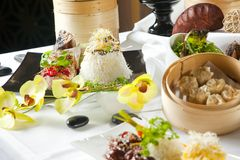 Asian Fusion dishes Royalty Free Stock Images