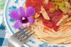 Asian fusion style spaghetti Stock Images