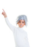 Asian futuristic kid girl with gray hair Royalty Free Stock Image