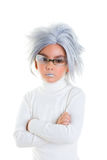 Asian futuristic kid girl with gray hair serious Stock Image