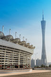 Asian Games stadium and Guangzhou Tower Stock Photos