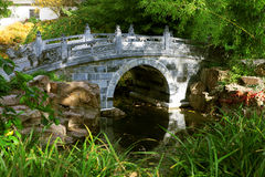 Asian Garden Bambus Bridge Royalty Free Stock Photo
