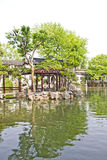 Asian garden with a pond Stock Photography