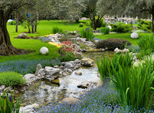 Asian garden with pond. Garden with pond in asian style Royalty Free Stock Images