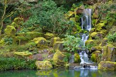 Asian Garden Waterfall Royalty Free Stock Images
