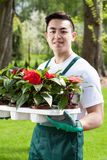 Asian gardener with plants Royalty Free Stock Photo