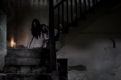 Asian Ghost story girl in haunted house Royalty Free Stock Images
