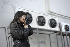 Asian girl. Portrait of asian girl with industrial surround stock images