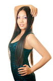 Asian girl. Young asian woman with long hair on white background Stock Photography