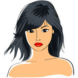 Asian girl. Color close-up sketch of a beautiful young Asian girl with short black hair and a serious look Royalty Free Stock Photos