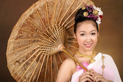 Asian girl. An beautiful Asian girl in Thai costume dress Royalty Free Stock Photography