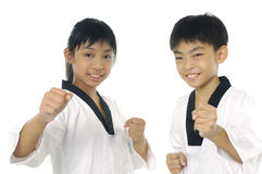 Asian girl. Child in taekwondo uniform and stance Royalty Free Stock Photography