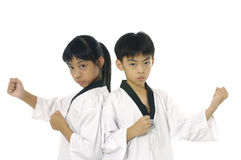 Asian girl. Child in taekwondo uniform and stance Royalty Free Stock Images