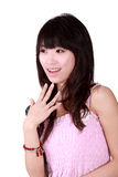 Asian girl. A Asian girl shows the surprised expression Royalty Free Stock Images