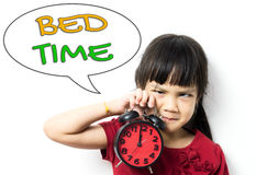 Asian girl is angry and wanting to go to bed Royalty Free Stock Photo