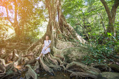 Asian girl on the base of trees Stock Photography