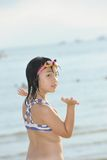 Asian girl on beach Royalty Free Stock Photo