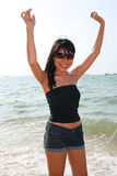 Asian girl on a beach in Thailand. Asian girl on Pattaya beach in Thailand stock images