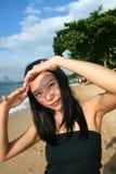 Asian girl on a beach in Thailand. Asian girl on Pattaya beach in Thailand stock photography