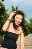 Asian girl on a beach in Thailand. Asian girl on Pattaya beach in Thailand stock photo