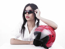 Asian girl biker Stock Images
