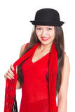 Asian girl in a black hat Stock Image