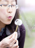 Asian girl blowing dandelion Stock Photo