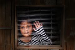 Asian girl in the cage, Human trafficking. royalty free stock photos