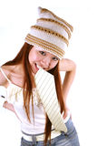 Asian girl with cap Royalty Free Stock Photography